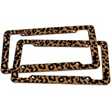 Oxgord 2 pc. Leopard Print Plastic License Plate Frame, Orange Brown