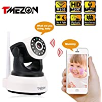 TMEZON Wireless Wifi IP Security Camera 720P Indoor Home Surveillance System Baby Pet Monitor 2 Way Audio, Day/Night Vision Webcam (MZ-PT202-10)