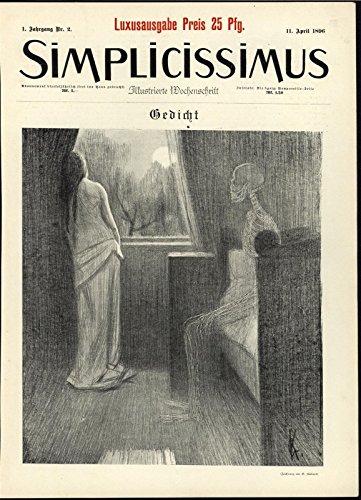 (Specter Skeleton Death Haunting Woman Bedroom Eerie 1896 Art Nouveau print)