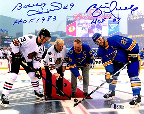 - PSA/DNA Bobby Hull HOF 1983 & Brett Hull HOF 09 Autographed Signed Winter Classic Puck Drop 8x10 Photo Photograph