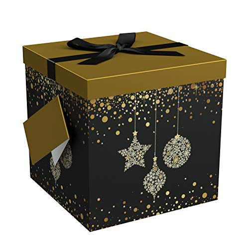 Christmas Present Box (EndlessArtUS Starlight 12x12x12 Gift Box Pop Up in Seconds Comes with Decorative Ribbon Mounted on The Lid a Gift Tag and Tissue Paper - No Glue or Tape)