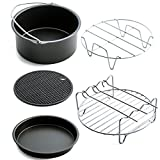 Home Air Fryer Accessories with Fryer, Baking Basket, Pizza Pan, Grill Pot Mat,Metal Holder Multi-functional Kitchen Accessory