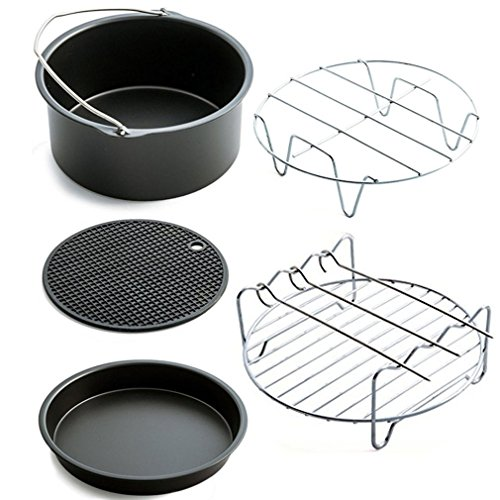 Home Air Fryer Accessories with Fryer, Baking Basket, Pizza Pan, Grill Pot Mat,Metal Holder Multi-functional Kitchen Accessory by Kath (Image #7)
