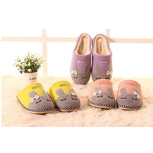 Hiver antidérapant intérieur Maison Womens Rojeam Fausse Lapin Peluche Slipper Chaud Confortable Feutre Semelle Coton Chaussures Slipper Mens en avec en Pantoufles Jaune Pantoufles en Fourrure HBfRq40wRx