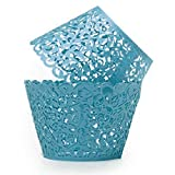 Woopower 50Pcs Filigree Vine Cupcake Wrappers Collars Wraps Case Dessert Sweetie Mold For Christmas Birthday Party (sky blue)