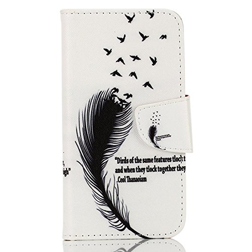 PowerQ Bunte Muster Reihe PU Artificia-Leder Tasche Holster Hülle Etui Fall Case Cover < Feather birds   für IPhone 5S 5 5G SE IPhone5S IPhoneSE >          mit schönen hübschen Muster Druck Detailzeichnung Gel