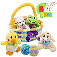 My First Easter Egg Basket Stuffed Plush Playset for Baby Kids Easter Theme Party Favor, Easter Eggs Hunt, Basket Stuffers F