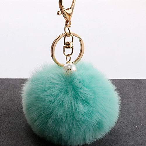 Soft Faux Fur Ball Charming Keyring with Pearl Handbag Accessory Car Pendant 8CM (Color - Mint Green)
