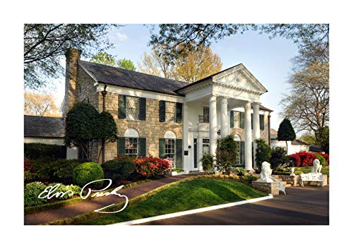 (Engravia Digital Elvis Presley Graceland Home A4 Poster with Reproduction Autograph Picture Photo A4 Print(Unframed) )