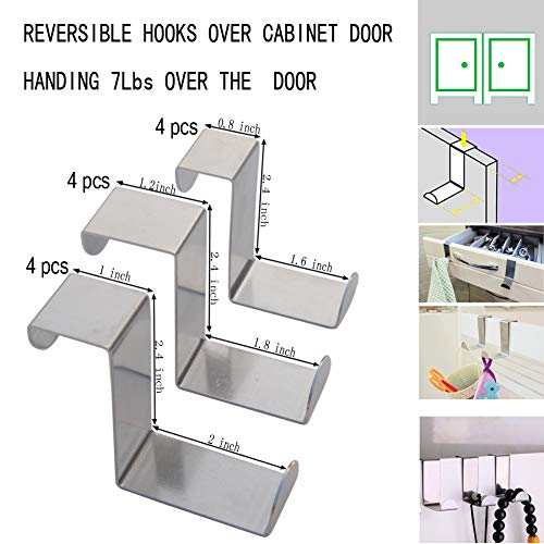 Set of 12 Over The Door Hooks,Z-Shaped Reversible Sturdy Hanging Hooks Dual Head Single Hanger for Over The Door or Cupboard Door,Drawer, Holders Hold up to 11Lbs,6 Different Size,Stainless Steel by BODINGTAI (Image #3)