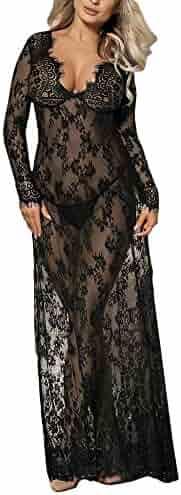 69177b35873f LLNONG Women Sexy Lace Translucent Long Nightdress Underwear Sets 1pcs  Sleepdress 1pcs G-String Thong