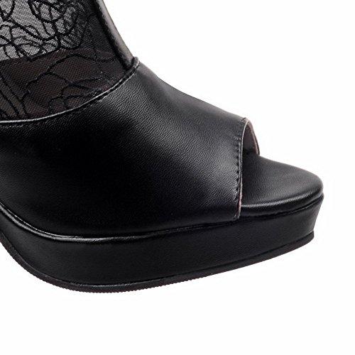 BalaMasa Girls Lace solido maglia sandali, Nero (Black), 35