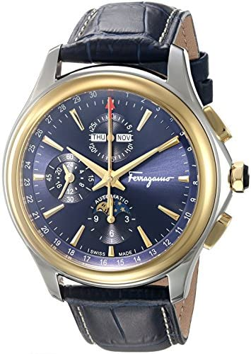 Salvatore Ferragamo Men s Time L.E Automatic Stainless Steel and Leather Casual Watch, Color Blue Model FFU020016