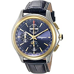 Salvatore Ferragamo Men's 'Time L.E' Automatic Stainless Steel and Leather Casual Watch, Color:Blue (Model: FFU020016)