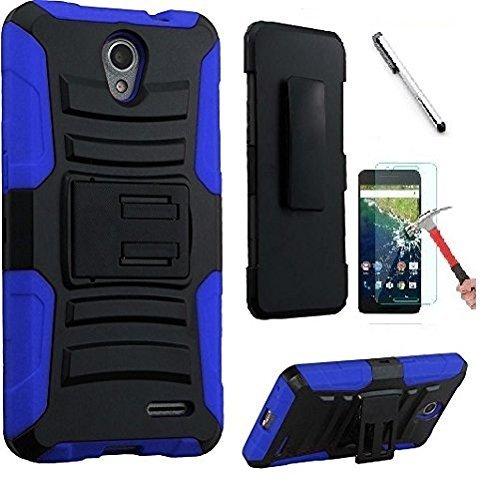 ZTE Prestige 2 N9136 / Maven 3 Z835 / Overture 3 / Prelude Plus Z851 / ZFive 2 Z836, Luckiefind Hybrid Side Kickstand Cover Case With Holster Clip, Stylus Pen & Tempered Glass (Holster (Faceplate Cover Case Blue Clip)