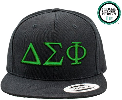 DELTA SIGMA PHI | Black Flat Brim Snapback Hat - Various Thread Options