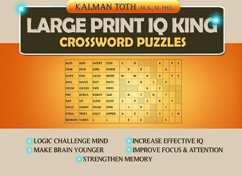 Large Print IQ KING CROSSWORD Puzzles Kalman Toth 9781499531190 Amazon.com Books  sc 1 st  Amazon.com & Large Print IQ KING CROSSWORD Puzzles: Kalman Toth: 9781499531190 ... 25forcollege.com