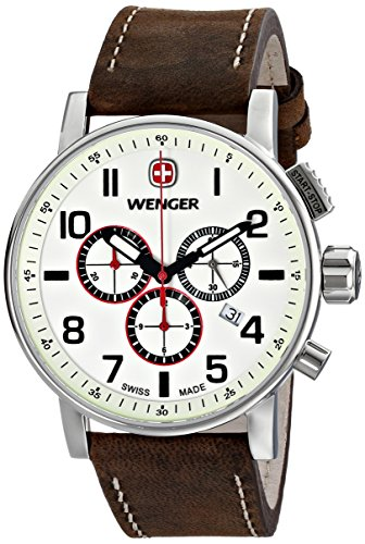 Wenger Men's 'Attitude Chrono' Swiss Quartz Stainless Steel and Leather Casual Watch