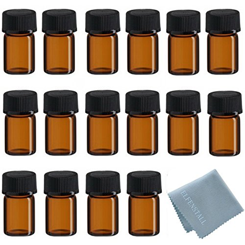 ELFENSTALL 50Pcs 2ml Oil Bottles for Essential Oils (5/8 Dram) Amber Glass Vials Bottles, with Orifice Reducers and Black - Glass Vials Amber