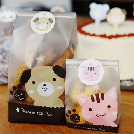 Saasiiyo 50pcs/lot Plastic Biscuit Cookie Bags Baking Packs Sac Plastique Cute Dog Cat Pattern Packaging for Cookies Party decoration bag