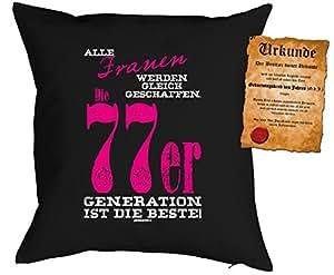 Cojín Cumpleaños: Mujeres Se Creado CC, 77er Generación...–Set de regalo con Gratis Escrituras–Cojín, sofá–Negro