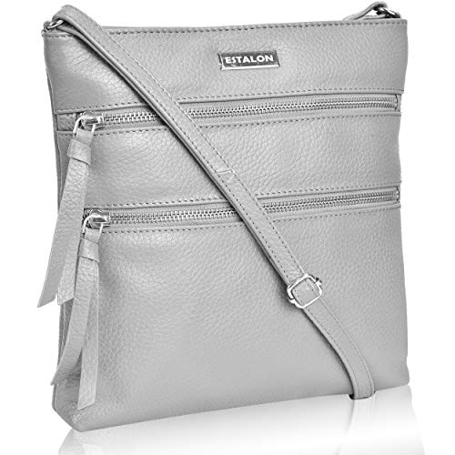 (Leather Crossbody Purse for Women- Small Crossover Cross Body Bag Long Over the Shoulder Sling Womens Purses and Handbags (Grey)