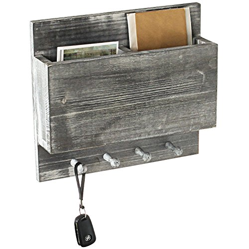 Whitewash Gray Wood Wall-Mounted 2 Slot Mail Sorter with 4 Key Ring Hooks