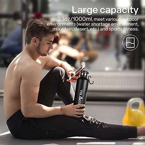 Tolaccea Bottiglia d\'Acqua in Acciaio isolata Bottiglia d\'Acqua Sportiva a Doppia Parete da 33 Once Bottiglia d\'Acqua a Bocca Larga Borraccia Termica da Viaggio Senza BPA Nero