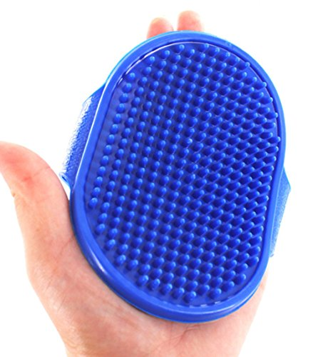 cepillo para polvo de baño y masaje rápido y bueno para mascotas de Great Grooming Tool con cerdas de masaje de goma suave...