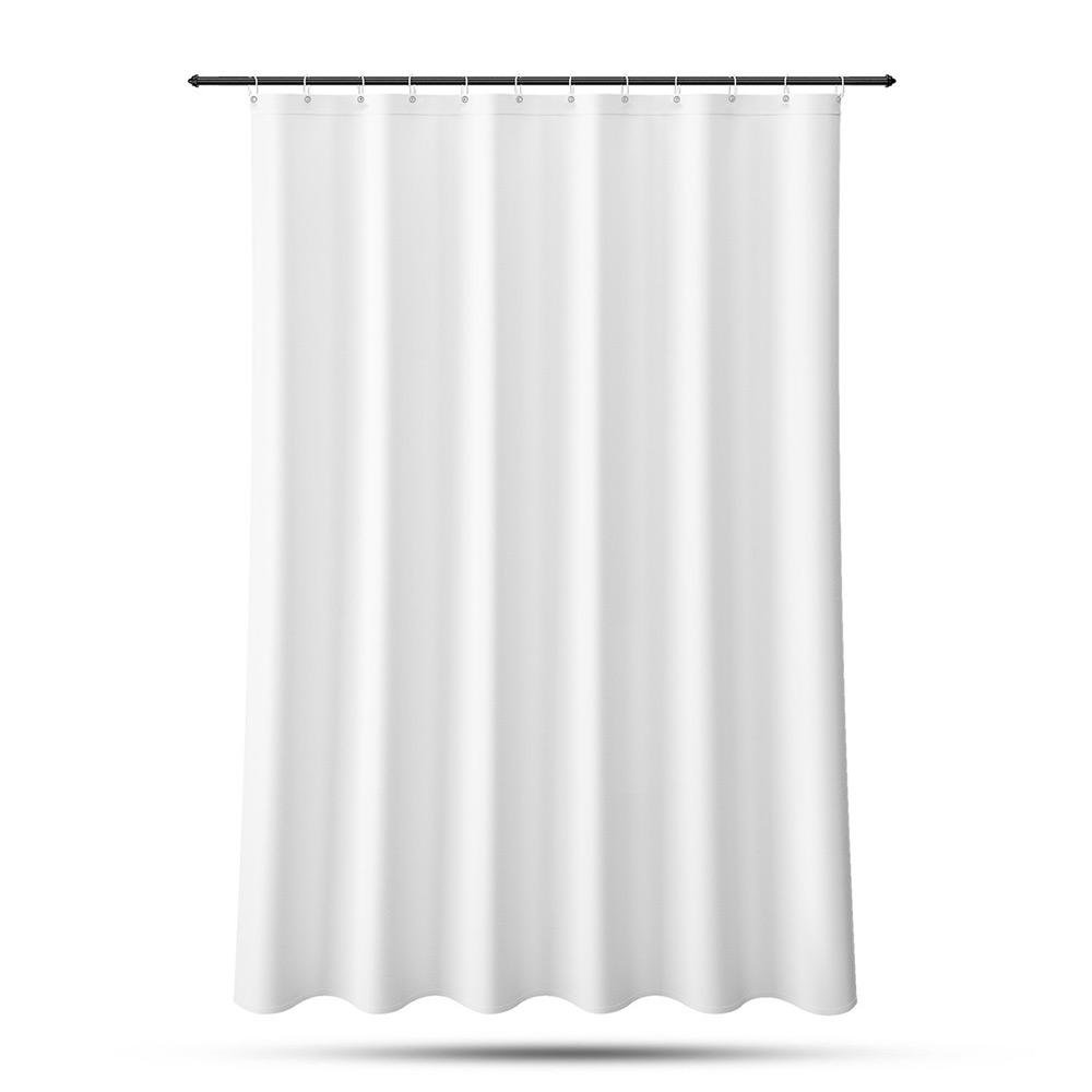 LIVINGbasics ® 72 x 72 inch Mildew-Free PEVA Bathroom Shower Liner Curtain with 12 Metal Hooks, Mold Resistant Waterproof (White)