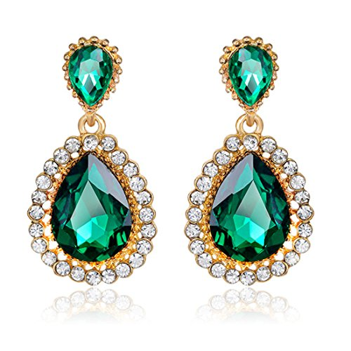 Women Rhinestone-studded Teardrop Studs Artificial Crystal with Bling Stone Fashion Drop Earring Jewelry (Green)