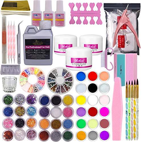 - Warm Girl Full 42 Acrylic Powder 120ml Liquid Nail Form Glitter File Glue Brush Rhinestone Clipper French Tips Nail Art Set Starter Kit