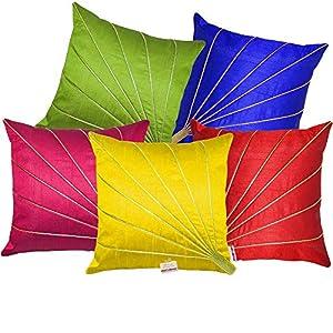 indoAmor Silk 200 TC Cushion Cover, Standard, Multicolour, 5 Pieces