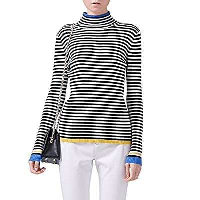 Toyouth Turtleneck Sweaters Women Slim Striped Pullover Long Sleeve Sweater Black White