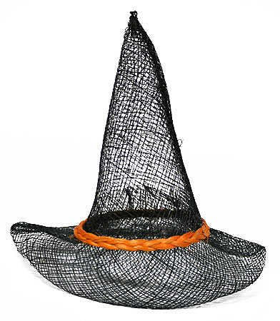 Package of 12 Orange & Black Sinamay Pointed Witch Hats-6