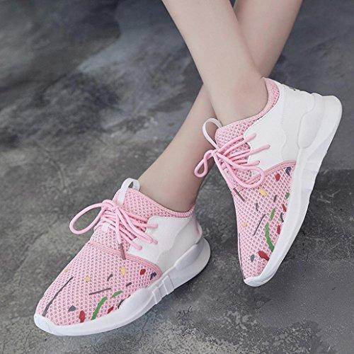 Calzado deportivo, 2017 Tefamore La Sra malla transpirable zapatillas ocasionales con cordones plana Rosado