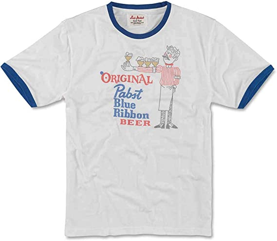 Pabst Blue Ribbon Logo  White Short Sleeve Cotton T-shirt ~ Adults Large