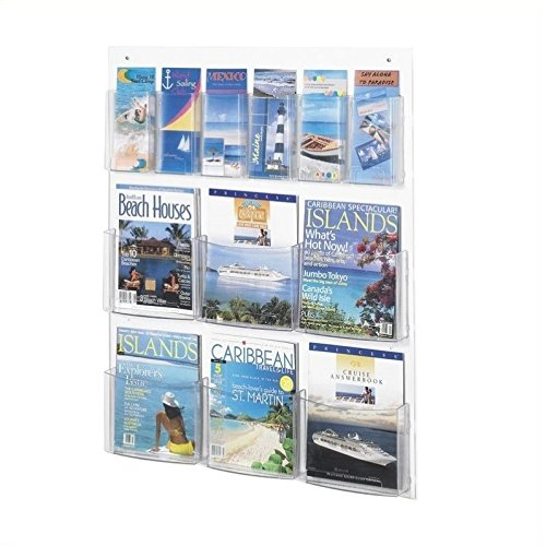Safco Products 5668CL Clear2c Literature Display, 6 Magazine and 6 Pamphlet, Clear by Safco Products