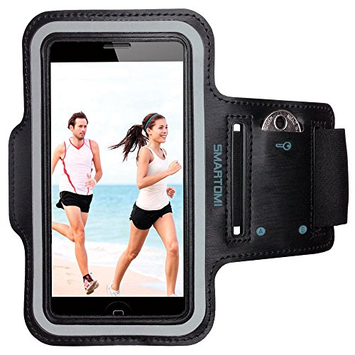Armband for iPhone 6 Plus/6S plus by Smartomni, Sport Armband with Adjustable Length Band w/ Key Slots and Card Slot Compatible with Most of 5.5