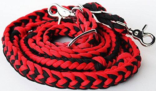 (ProRider Roping Knotted Horse Tack Western Barrel Reins Nylon Braided Red Black 60716)