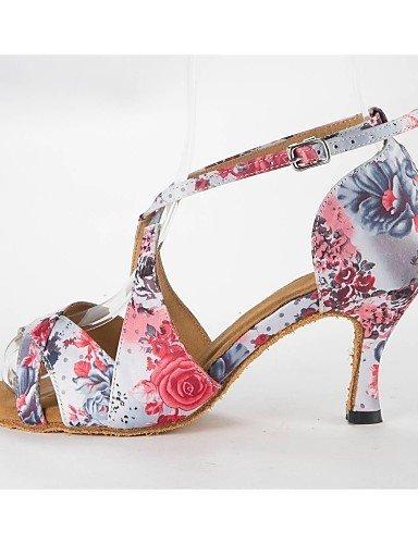 shangyi Zapatos de baile latin Mujeres Sandalias satén pfennig tacón Buckie Zapatos de baile rosa