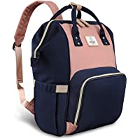 Pipi bear Nappy Changing Backpack, Multi-Functional Waterproof Baby Diaper Bags for Mom and Dad,Stylish and Durable Travel Bag (Pink+Blue)