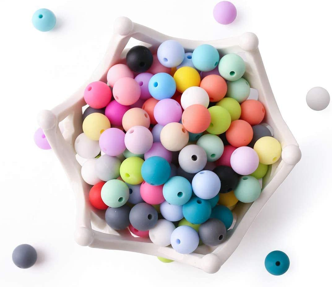 Bracelets 12mm, Pearl White Teethers zorpia Silicone Beads for Teething 100PC 12MM Round,Teether Beads for Babies,Jewelry Making for Making Necklaces