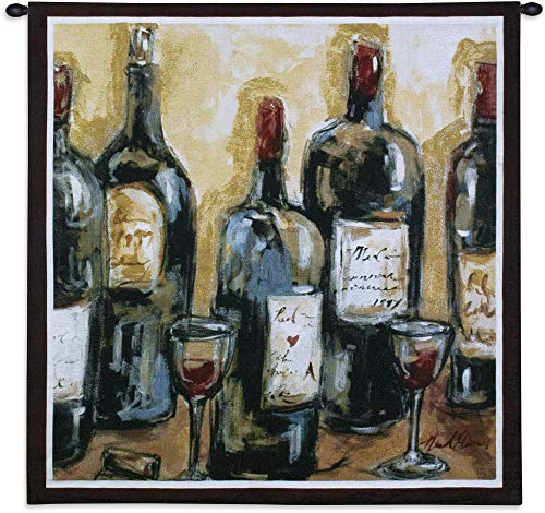 (Wine Bar | Woven Tapestry Wall Art Hanging | Impressionist Still Life Setting with Wine Label | 100% Cotton USA)