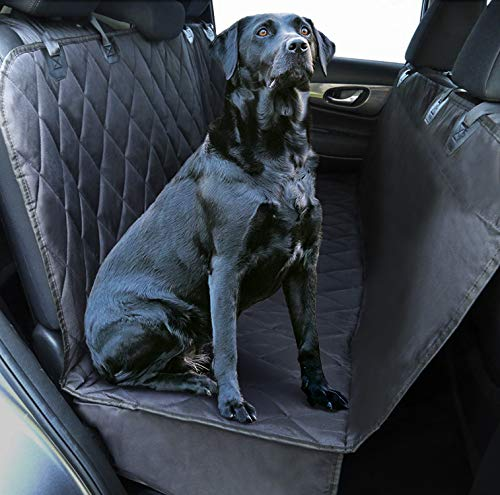 Plush Paws Ultra-Luxury Pet Seat Cover, Dog Car Hammock Protector Bench Rear Waterproof 100% Non-Slip Backing Anchors Side Flaps Machine Wash Black 2 Bonus Harness 2 Seat Belts (Regular, -
