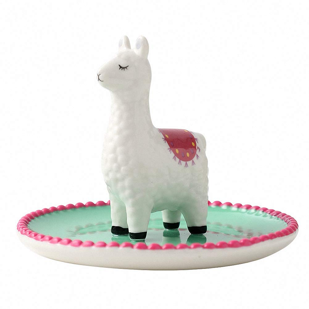 Cuddly Animal Alpaca Shape Design Ceramic Jewelry Trinkets Tray Ring Earrings Holder Necklace Crafts Organizer Storage Desk Ornament Dish Plate Stand Display Gift for Girlfriend Home Decor, Green