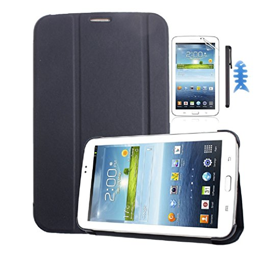 Kshion Leather Case Stand Cover [Anti Slip] Protective Cover Case for Samsung Galaxy Tab 3 7.0 Tablet T210 T211+Film +Stylus +Reel (Sapphire)