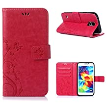 Galaxy S5/Galaxy S5 Neo 5.1inch Elegant Wallet Case, Galaxy S5 Neo Beautiful Case, Flower Butterfly Pattern Premium PU Leather Wallet Case with Wrist Strap Flip Case Cover (rose)