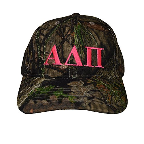 Alpha Delta Pi Sorority Pink Letter Design Woods Mossy Oak Camouflage Hat Cap with Pink Thread Baseball Hat Camo ADPi (Youth Camo Stocking Cap)