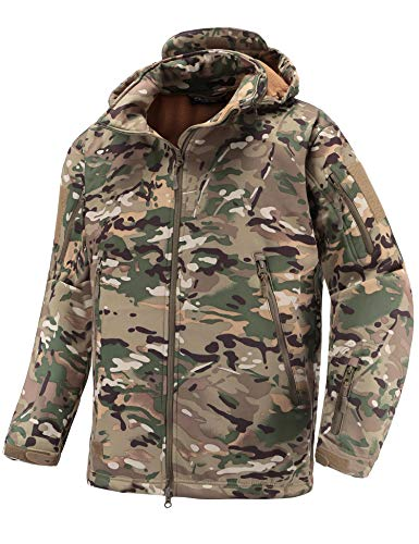 cket Soft Shell Fleece Lined Water Repellent Coat Windproof Outwear Camouflage Jacket ()